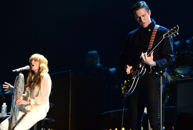 INDIO, CA - APRIL 19: (L-R) Singer Florence Welch and guitarist Robert Ackroyd of Florence and the Machine perform onstage during day 2 of the Coachella Music festival at The Empire Polo Club on April 19, 2015 in Indio, California. (Photo by Scott Dudelson/FilmMagic)