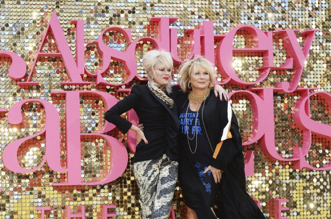 "LONDON, ENGLAND - JUNE 29: Joanna Lumley (L) and Jennifer Saunders attends the World Premiere of ""Absolutely Fabulous: The Movie"" at Odeon Leicester Square on June 29, 2016 in London, England. (Photo by Dave J Hogan/Dave J Hogan/Getty Images)"