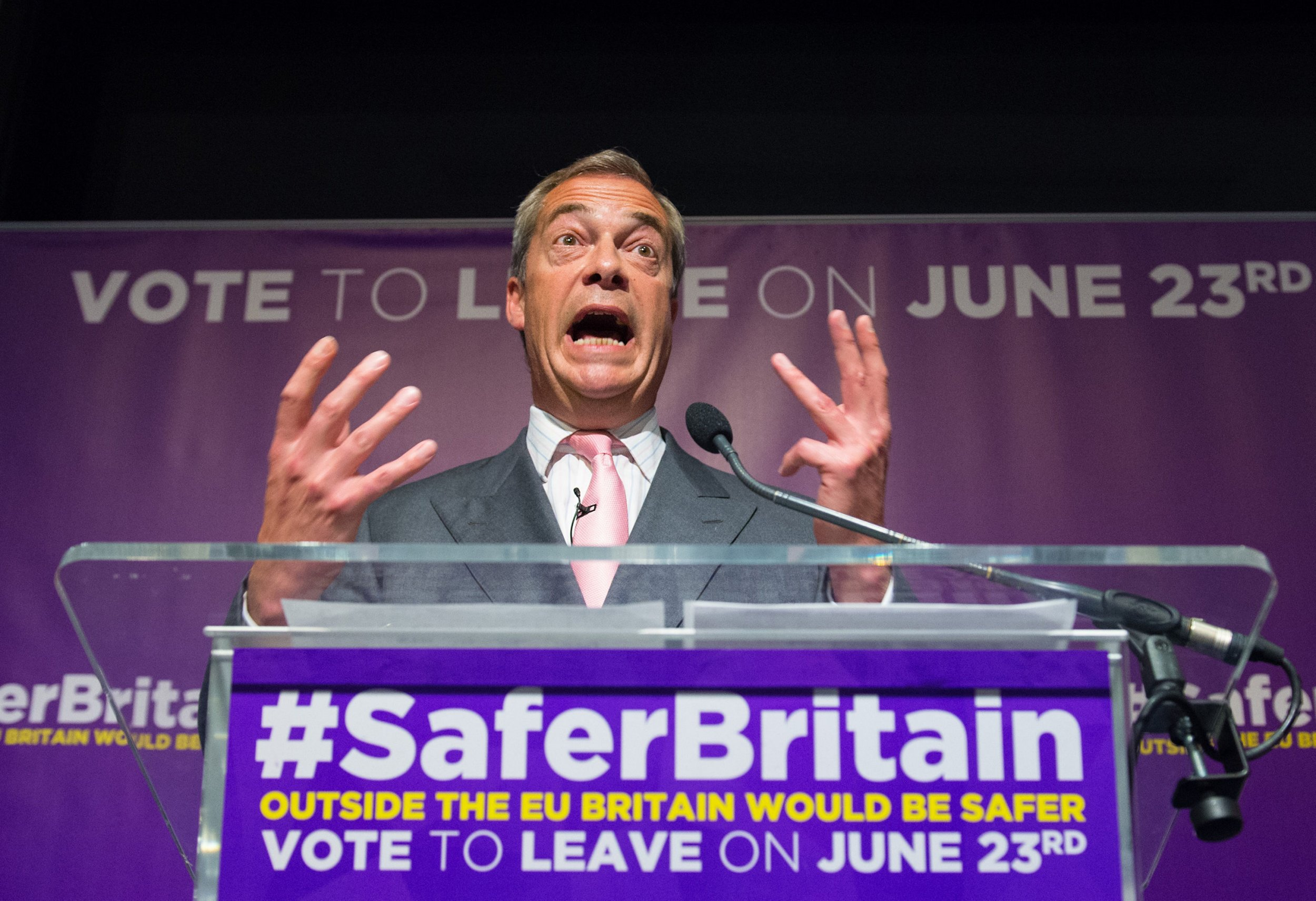 RETRANSMITTING CLARIFYING IT IS A UKIP NOT A VOTE LEAVE EVENT CORRECT CAPTION BELOW Ukip leader Nigel Farage giving a speech on immigration at a Ukip European referendum campaign event at One George Street in Westminster, London. PRESS ASSOCIATION Photo. Picture date: Friday June 3, 2016. See PA story POLITICS EU. Photo credit should read: Dominic Lipinski/PA Wire