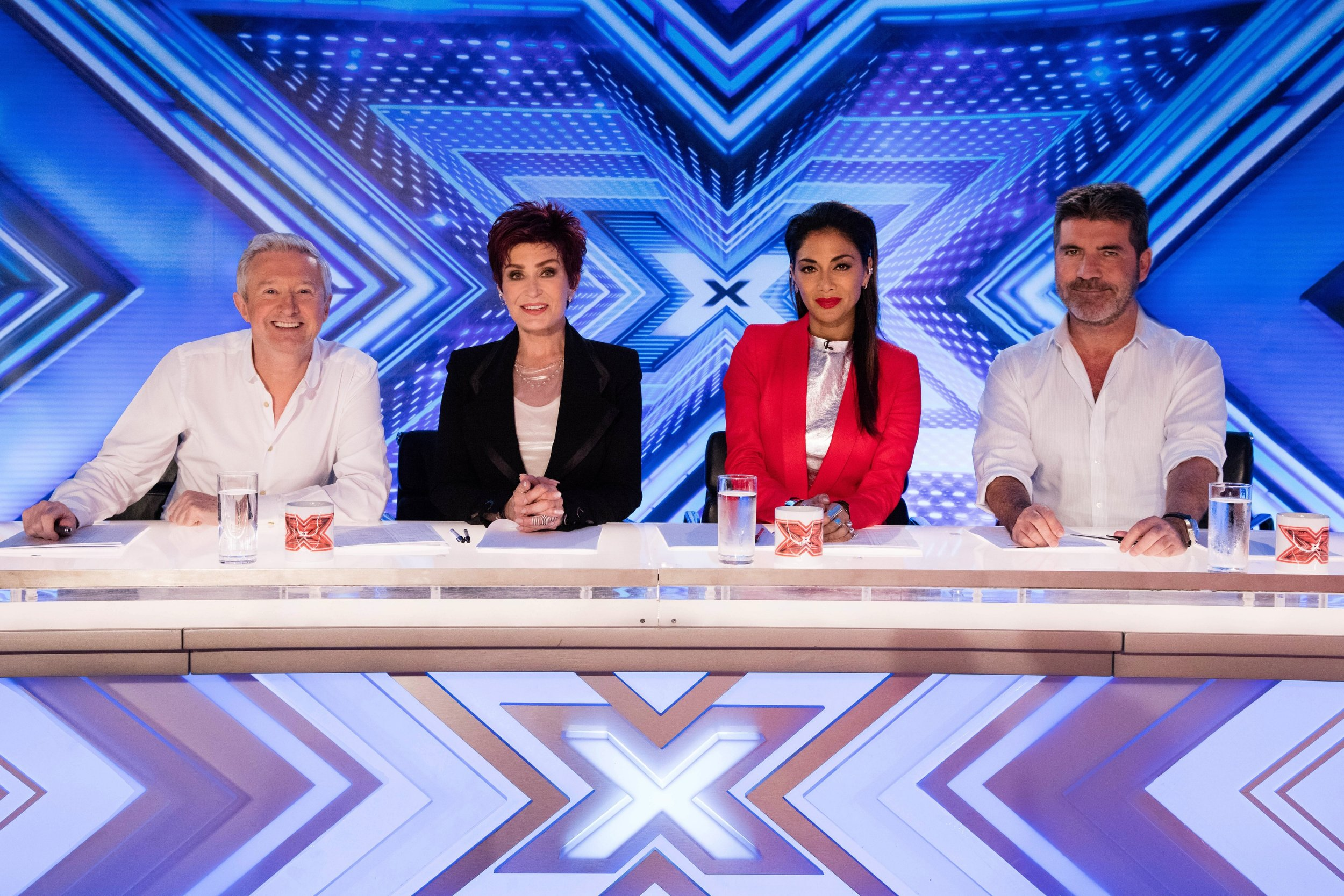 *** MANDATORY BYLINE TO READ: Syco / Thames / Dymond ***<BR /> ***MANDATORY BYLINE TO READ: Syco/Thames/Dymond*** Start of filming for the 2016 X Factor. The X Factor Judges, Simon Cowell, Sharon Osbourne, Nichole Scherzinger and Louis Walsh visit Leicester's King power Stadium for the first day of the room auditions. <P> Pictured: Louis Walsh, Sharon Osbourne, Nicole Scherzinger and Simon Cowell <B>Ref: SPL1300021 100616 </B><BR /> Picture by: Syco / Thames / Dymond<BR /> </P><P>