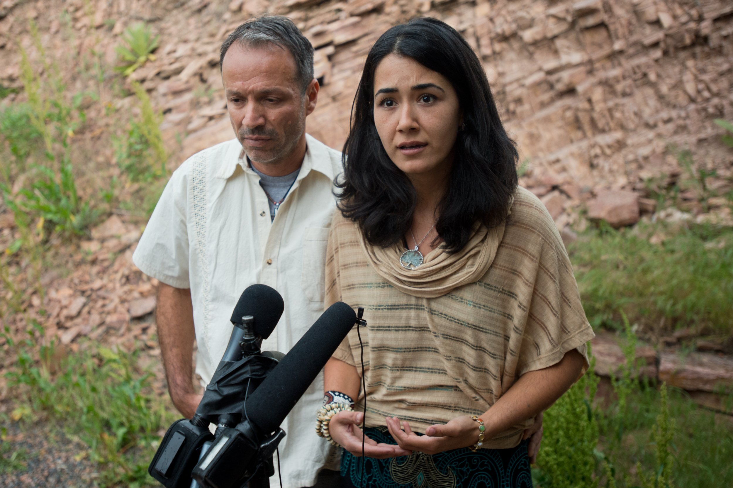 Sitora Yusufiy, the ex-wife of Orlando shooting suspect Omar Mateen, and her fiance Marcio Dias, give a statement to the media at their home outside Boulder, Colo., Sunday, June 12, 2016. (Autumn Parry/Boulder Daily Camera via AP)