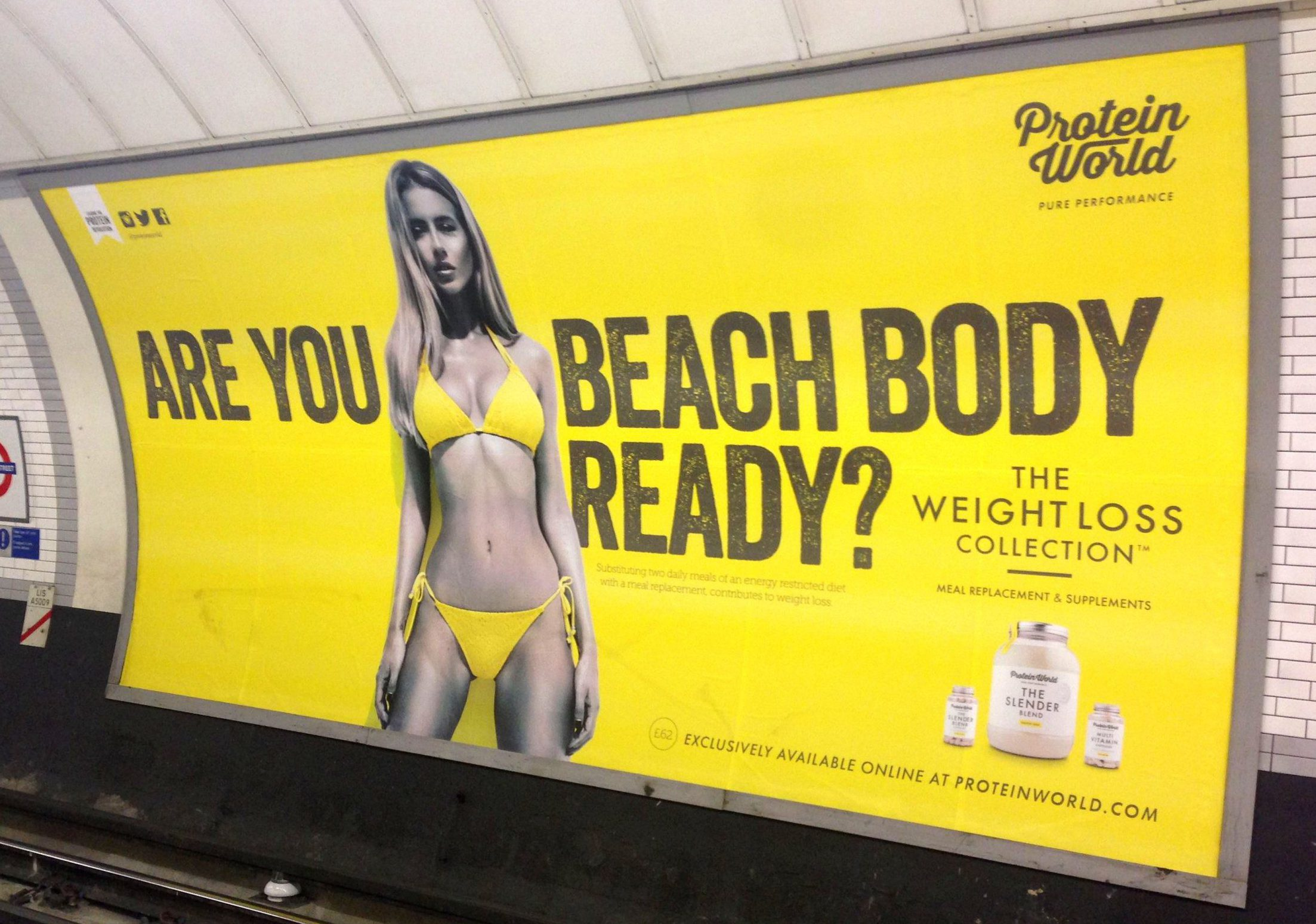 Mandatory Credit: Photo by REX/Shutterstock (3875788cq)nAre You Beach Body Ready - Protein World weight loss supplements advertnVarious, Britain - 2014nProtein World weight loss supplements advert which has caused a backlash from commuters has been pulled by Transport for Londonn