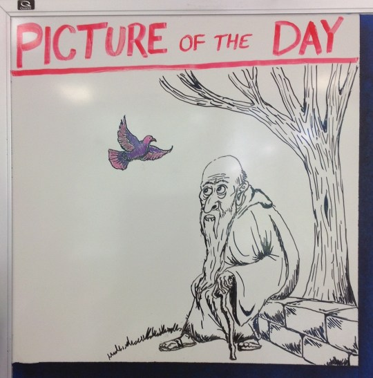 Teacher makes class fun by drawing beautiful pictures on the