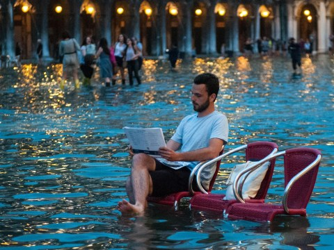 Venice has unusually high levels of water but the locals are getting on just fine