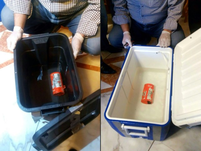"""TOPSHOT - (COMBO) This combination of pictures created on June 17, 2016 shows a handout picture taken at an undisclosed location in Egypt and released by the Egyptian Media Center of the ministry of Civil Aviation on June 17, 2016 showing the flight recorder (L) from the EgyptAir plane, that crashed into the Mediterranean last month, after it was recovered from the bottom of the Mediterranean by search teams.  AND a handout picture taken at an undisclosed location in Egypt and released by the Egyptian Media Center of the ministry of Civil Aviation on June 17, 2016 showing one of the two black boxes from the EgyptAir plane, that crashed into the Mediterranean last month, after it was recovered from the bottom of the Mediterranean by search teams.  Egyptian investigators said search teams managed to recover the Airbus A320's flight data recorder -- which gathers information about the speed, altitude and direction of the plane -- a day after they retrieved its cockpit voice recorder. EgyptAir Flight MS804 from Paris to Cairo disappeared from radar screens in the eastern Mediterranean last month with 66 people on board, and a vast search operation has since scoured swathes of sea off Egypt's northern coast. / AFP PHOTO / MEDIA CENTER OF THE EGYPTIAN MINISTRY OF CIVIL AVIATION / HO / ===RESTRICTED TO EDITORIAL USE - MANDATORY CREDIT """"AFP PHOTO / MEDIA CENTER OF THE EGYPTIAN MINISTRY OF CIVIL AVIATION  - NO MARKETING NO ADVERTISING CAMPAIGNS - DISTRIBUTED AS A SERVICE TO CLIENTS FROM FROM ALTERNATIVE SOURCES, THEREFORE AFP IS NOT RESPONSIBLE FOR ANY DIGITAL ALTERATIONS TO THE PICTURE'S EDITORIAL CONTENT, DATE AND LOCATION WHICH CANNOT BE INDEPENDENTLY VERIFIED == ===RESTRICTED TO EDITORIAL USE - MANDATORY CREDIT """"AFP PHOTO / MEDIA CENTER OF THE EGYPTIAN MINISTRY OF CIVIL AVIATION  - NO MARKETING NO ADVERTISING CAMPAIGNS - DISTRIBUTED AS A SERVICE TO CLIENTS FROM FROM ALTERNATIVE SOURCES, THEREFORE AFP IS NOT RESPONSIBLE FOR ANY DIGITAL ALTERATIONS TO THE PICTURE'S EDITOHO"""