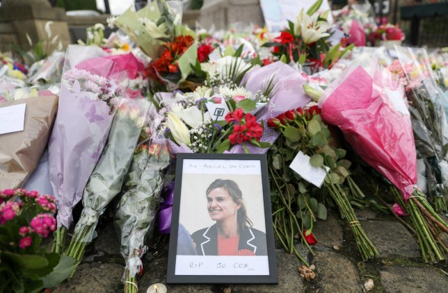 BIRSTALL, ENGLAND - JUNE 18: Floral tributes are left for Labour MP Jo Cox, on June 18, 2016 in Birstall, United Kingdom. The Labour MP for Batley and Spen was about to hold her weekly constituency surgery in Birstall Library last Thursday (June 16, 2016) when she was shot and stabbed in the street. (Photo by Matt Cardy/Getty Images)