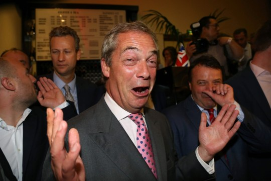 "Leader of the United Kingdom Independence Party (UKIP), Nigel Farage (C) reacts at the Leave.EU referendum party at Millbank Tower in central London on June 24, 2016, as results indicate that it looks likely the UK will leave the European Union (EU). Top anti-EU campaigner Nigel Farage said he was increasingly confident of victory in Britain's EU referendum on Friday, voicing hope that the result ""brings down"" the European Union. / AFP PHOTO / GEOFF CADDICKGEOFF CADDICK/AFP/Getty Images"