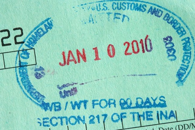 BNEAM2 green us visa waiver card stamped with entry visa department of homeland security us customs and border protection