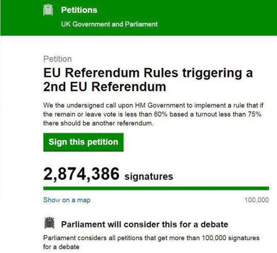 oliver healey - starts petitionnnPetitionnEU Referendum Rules triggering a 2nd EU ReferendumnnWe the undersigned call upon HM Government to implement a rule that if the remain or leave vote is less than 60% based a turnout less than 75% there should be another referendum.noliver healey/facebook petition parliament.uk