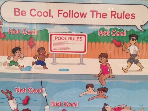 People are not impressed with this 'racist' swimming pool poster