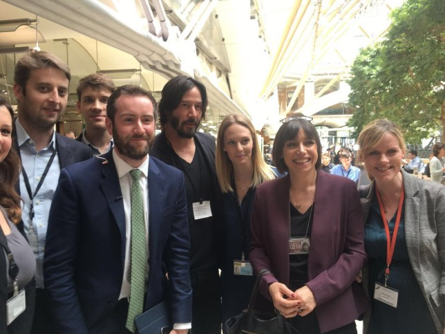 Keanu Reeves has turned up at Parliament Credit: Twitter