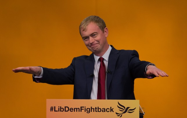 BOURNEMOUTH, ENGLAND - SEPTEMBER 23: Liberal Democrat leader Tim Farron makes his leader's speech on the final day of the Liberal Democrats annual conference on September 23, 2015 in Bournemouth, England. The Liberal Democrats are currently holding their annual conference using the hashtag #LibDemfightback in Bournemouth. The conference is the first since the party lost all but eight of its MPs in May's UK general election, however after gaining 20,000 new members since May the party is expecting a record attendance at the event being held at the Bournemouth International Centre. (Photo by Matt Cardy/Getty Images)