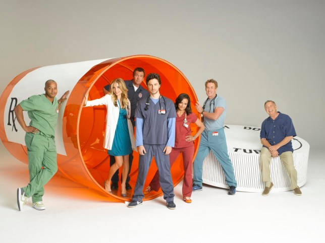 "Television Programme: ""Scrubs"" stars Zach Braff as John ""J.D."" Dorian, Donald Faison as Chris Turk, Sarah Chalke as Elliot Reid, Judy Reyes as Nurse Carla Espinosa, John C. McGinley as Dr. Perry Cox, Ken Jenkins as Dr. Bob Kelso and Neil Flynn as The Janitor CHANNEL 4 PICTURE PUBLICITY 124 Horseferry Road London SW1P 2TX 020 7306 8685 SCRUBS YR 8 SCRUBS YR 8 (Channel 4 images must not be altered or manipulated in any way) This picture may be used solely for Channel 4 programme publicity purposes in connection with the current broadcast of the programme(s) featured in the national and local press and listings. Not to be reproduced or redistributed for any use or in any medium not set out above (including the internet or other electronic form) without the prior written consent of Channel 4 Picture Publicity 020 7306 8685 Tx:TX Date This picture may be used solely for Channel 4 programme publicity purposes in connection with the current broadcast of the programme(s) featured in the national and local press and listings. Not to be reproduced or redistributed for any use or in any medium not set out above (including the internet or other electronic form) without the prior written consent of Channel 4 Picture Publicity 020 7306 8685"