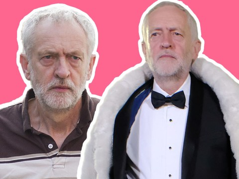 Scruffy Jeremy Corbyn rolled up to 'The Last Leg' in a fur coat and tux