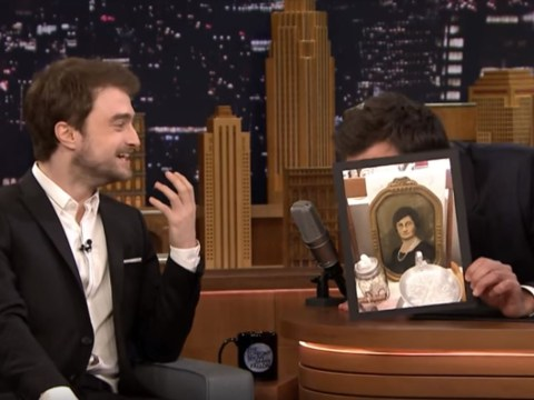 Jimmy Fallon has Daniel Radcliffe in stitches by showing him his most hilarious (and ancient) lookalikes