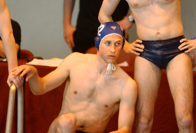 Britain's Prince William takes a break while making his water polo debut for the Scottish national universities squad in the annual Celtic Nations tournament against Wales and Ireland in Cardiff, Britain, Saturday April 17, 2004. (AP Photo/Barry Batchelor, Pool)