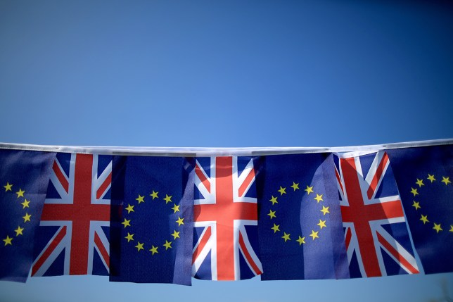 The European Union and the Union Jack flag sit together on bunting (Picture: Getty)
