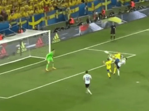 Watch: Man United target Zlatan Ibrahimovic denied quality acrobatic goal for Sweden by harsh decision