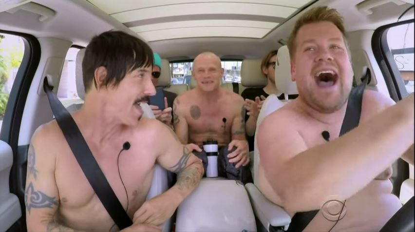 James Corden and the Red Hot Chili Peppers doing Carpool Karaoke (Picture: The Late Late Show)