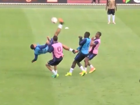 Manchester United star Anthony Martial scores class bicycle kick in France training