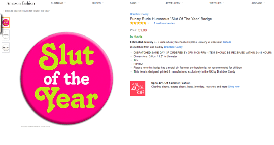 Jealous boyfriend hacked ex's Amazon account and ordered 'Slut of the Year' badge Picture: Amazon