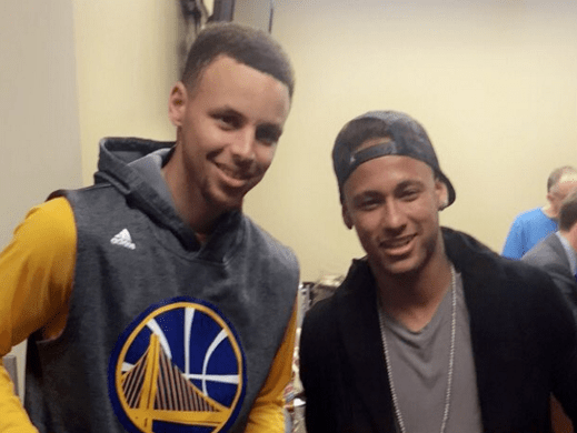 Neymar hangs out with Steph Curry after Golden State Warriors smash Cleveland Cavaliers