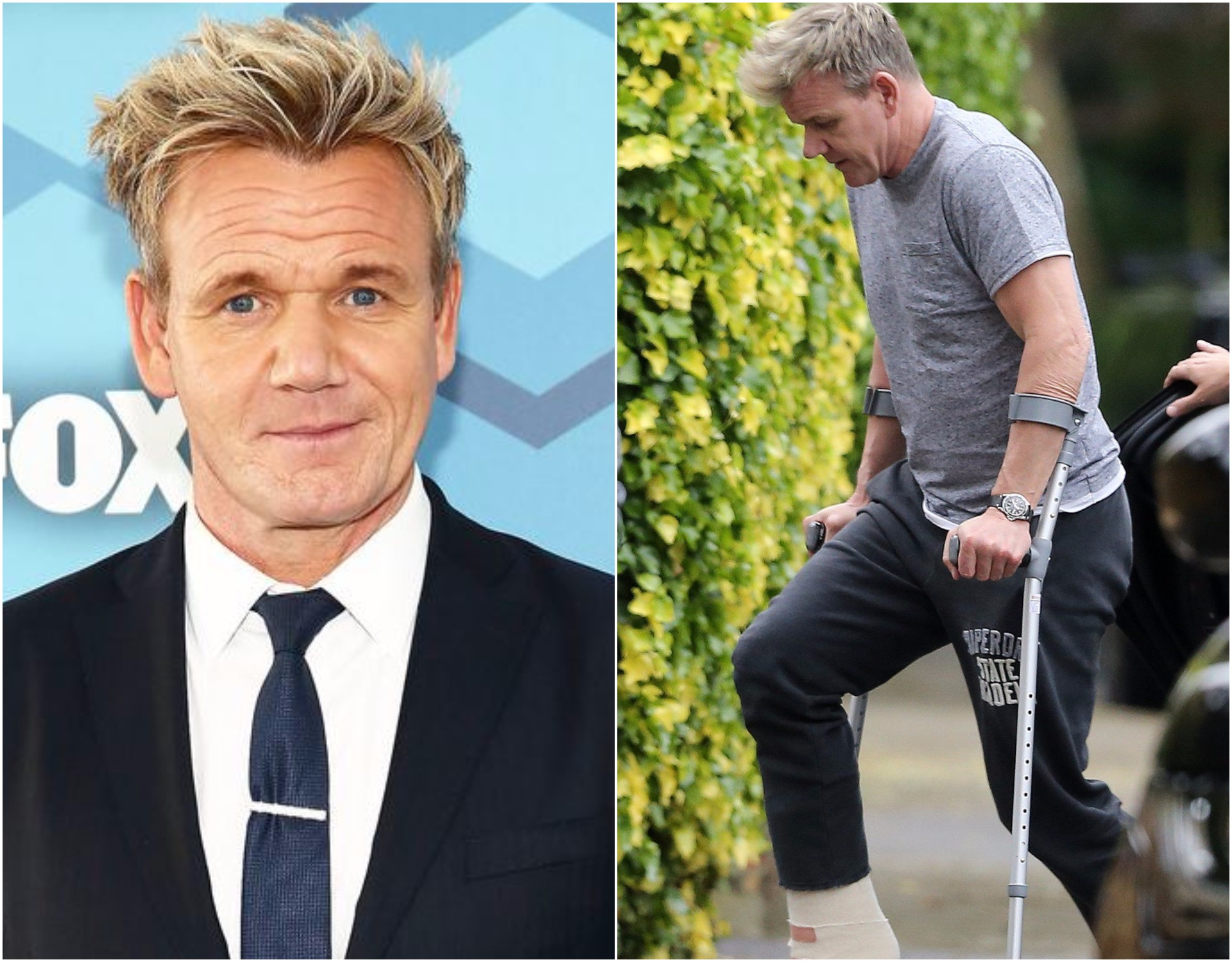 Gordon Ramsay hobbles home on crutches following Achilles tendon surgery