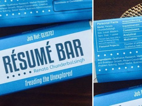 This woman's just upped the job-searching game by printing her CV on a chocolate bar