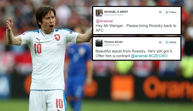 Arsenal fans beg Arsene Wenger to hand Tomas Rosicky a new contract after Czech Republic assist