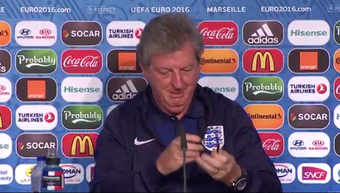 England boss Roy Hodgson's struggles with his headphones in Russia press conference has Wayne Rooney smirking