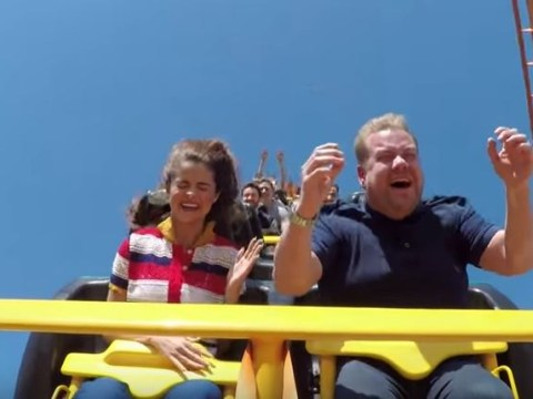 Selena Gomez does EXTREME carpool karaoke with James Corden and a roller coaster