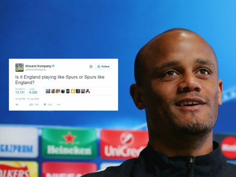 Manchester City skipper Vincent Kompany accidentally trolls Tottenham and England fans during Euro 2016 Russia clash