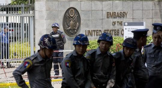 Myanmar explosion Credit: AP