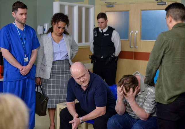 WARNING: Embargoed for publication until 00:00:01 on 12/07/2016 - Programme Name: EastEnders - July - September 2016 - TX: 18/07/2016 - Episode: EastEnders July - September 2016 - 5317 (No. n/a) - Picture Shows: *STRICTLY NOT FOR PUBLICATION UNTIL 00:01HRS, TUESDAY 12th JULY, 2016* Ian & Phil receive news that Ben has died. Dr Gary McLaughlin (DUNCAN CASEY), DC Angie Rice (MARTINA LAIRD), Phil Mitchell (STEVE MCFADDEN), Ian Beale (ADAM WOODYATT), Steven Beale (AARON SIDWELL) - (C) BBC - Photographer: Jack Barnes