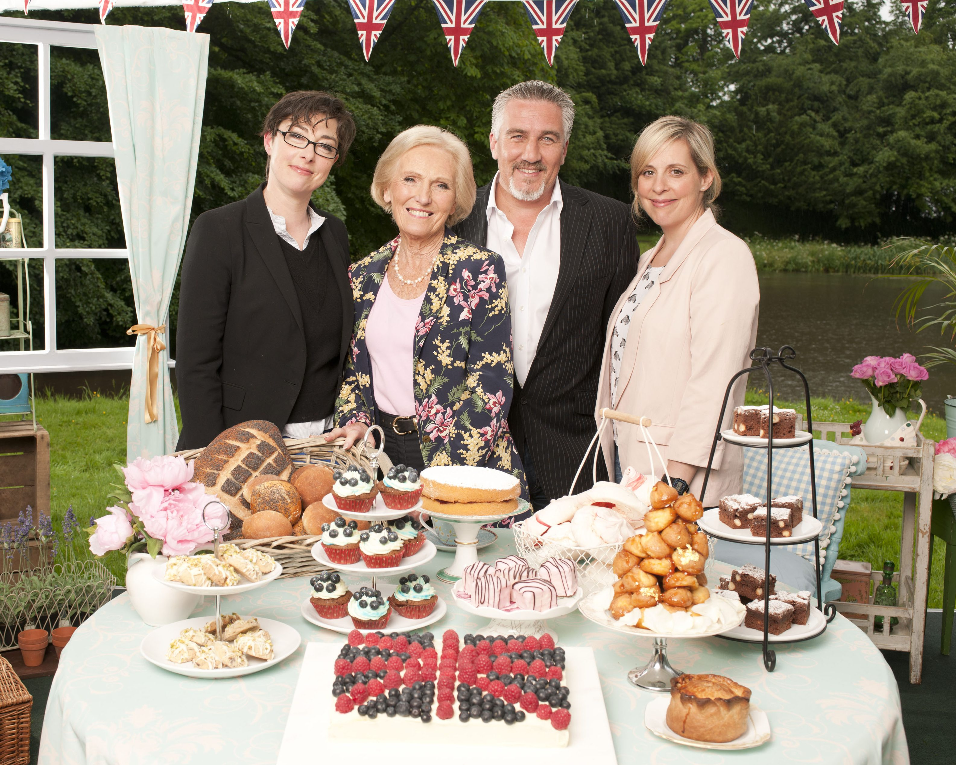 Programme Name: Great British Bake Off - TX: 14/08/2012 - Episode: n/a (No. n/a) - Embargoed for publication until: n/a - Picture Shows: The presenters and judges Sue Perkins, Mary Berry, Paul Hollywood, Mel Giedroyc - (C) Love Productions - Photographer: Amanda Searle