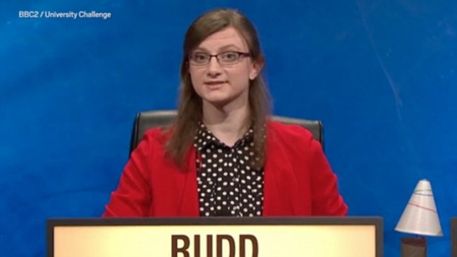 Sophie Rudd, a transgender student from Warwick University has gained public support after being trolled online (Picture BBC2 University Challenge),