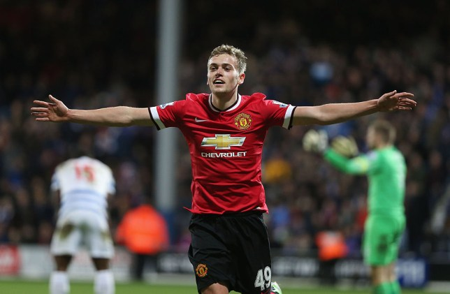 LONDON, ENGLAND - JANUARY 17: James Wilson of Manchester United celebrates scoring their second goal during the Barclays Premier League match between Queens Park Rangers and Manchester United at Loftus Road on January 17, 2015 in London, England. (Photo by Tom Purslow/Man Utd via Getty Images)
