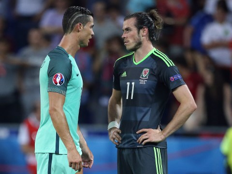 Gareth Bale reacts to Real Madrid team-mate Cristiano Ronaldo going off in Euro 2016 final