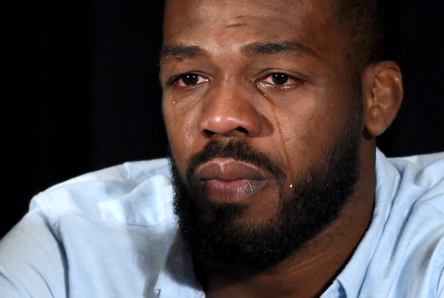 LAS VEGAS, NV - JULY 07: Mixed martial artist Jon Jones cries as he speaks during a news conference at MGM Grand Hotel & Casino to address being pulled from his light heavyweight title fight at UFC 200 against Daniel Cormier due to a potential violation of the UFC's anti-doping policy on July 7, 2016 in Las Vegas, Nevada. (Photo by Ethan Miller/Getty Images)