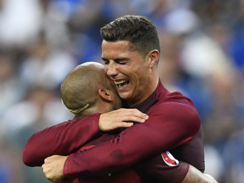 Cristiano Ronaldo gets straight back into his full-kit to lift trophy after Portugal claim dramatic Euro 2016 final victory