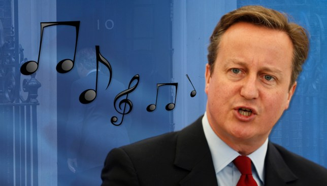 David Cameron sings tune to himself as he skips back to Number 10 for one of the last times Credit: Getty Images/Metro