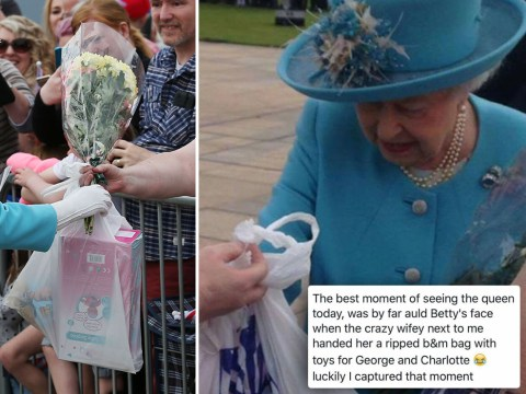 Queen looks really pleased to receive gifts in old plastic bag