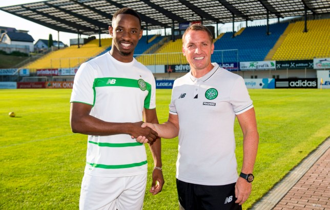 30/07/16 PRE-SEASON FRIENDLY NK CELJE v CELTIC ARENA PETROL STADIUM - SLOVENIA New Celtic signing Moussa Dembele (left) with manager Brendan Rodgers
