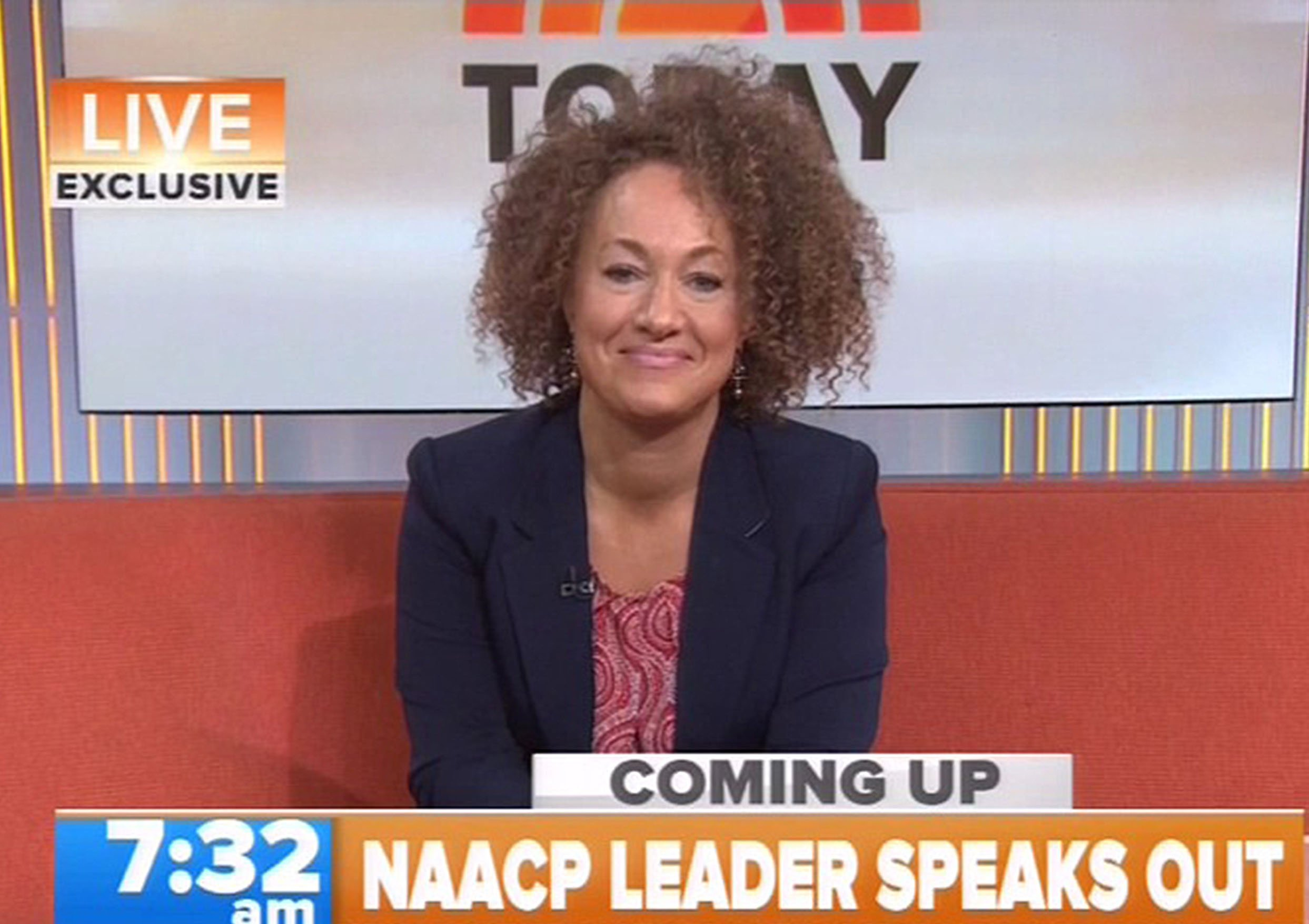"""16.JUNE.2015 - NEW YORK - USA....**** STRICTLY NOT AVAILABLE FOR USA ***....NAACP leader Rachel Dolezal rubbished suggestions that she is someway in a 'mockery blackface performance' as she appeared for her first live TV interview with Matt Lauer on The Today Show...Dolezal resigned on Monday as President of the NAACP's Spokane Chapter following the huge controversy over her racial identity after her parents had 'outed' the 37 year old as being a white woman...Asked if appearing and presenting herself as being a black woman was somewhat in anyway similar to wearing blackface, Dolezal denied such suggestions and hit back with: """"I have a huge issue with blackface""""..She then added: """"This is not some freak 'Birth of a Nation' mockery black performance. This is on a very real, connected level. Ive had to go there with the experience, not just a visible representation""""..Dolezal later added that she would draw pictures of herself using the 'brown' crayon instead of the 'peach' colored one, yet conceded that she did not identify as black until she became a teenager.......XPOSURE PHOTOS DOES NOT CLAIM ANY COPYRIGHT OR LICENSE IN THE ATTACHED MATERIAL. ANY DOWNLOADING FEES CHARGED BY XPOSURE ARE FOR XPOSURE'S SERVICES ONLY, AND DO NOT, NOR ARE THEY INTENDED TO, CONVEY TO THE USER ANY COPYRIGHT OR LICENSE IN THE MATERIAL. BY PUBLISHING THIS MATERIAL , THE USER EXPRESSLY AGREES TO INDEMNIFY AND TO HOLD XPOSURE HARMLESS FROM ANY CLAIMS, DEMANDS, OR CAUSES OF ACTION ARISING OUT OF OR CONNECTED IN ANY WAY WITH USER'S PUBLICATION OF THE MATERIAL. ........BYLINE MUST READ : NBC/XPOSUREPHOTOS.COM....PLEASE CREDIT AS PER BYLINE *UK CLIENTS MUST CALL PRIOR TO TV OR ONLINE USAGE PLEASE TELEPHONE 44 208 344 2007"""
