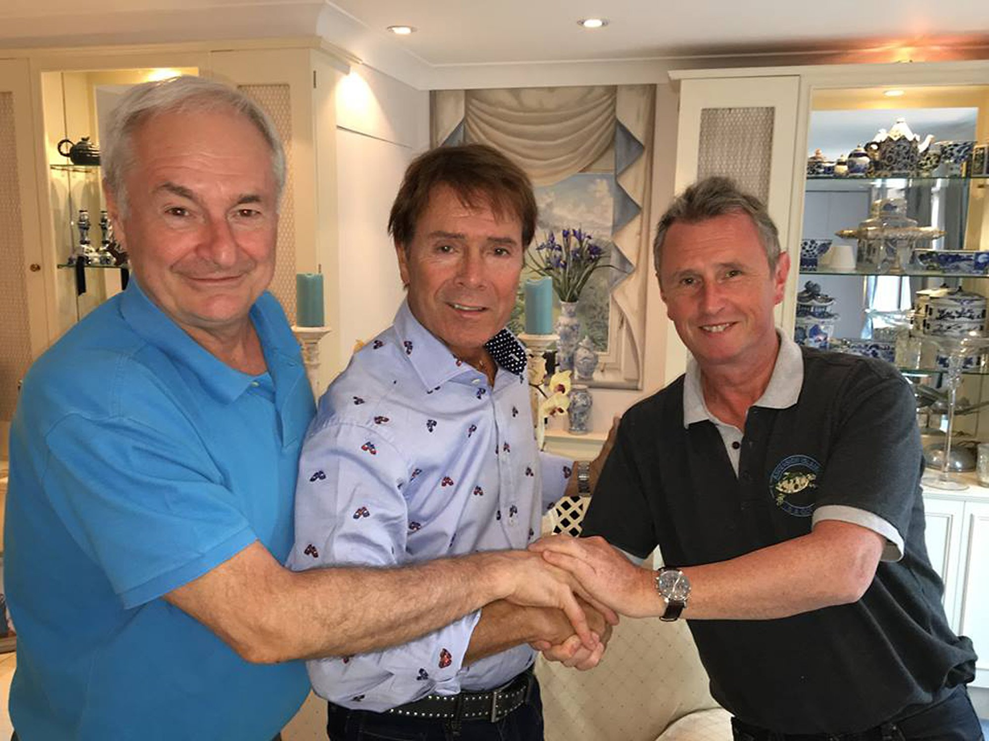 BEST QUALITY AVAILABLE Undated handout photo taken with permission from the Facebook page of Nigel Evans of (left to right) Paul Gambaccini, Sir Cliff Richard and Nigel Evans MP meeting to discuss plans to set up a victims support group for those wrongly accused of sexual assault. PRESS ASSOCIATION Photo. Issue date: Monday July 4, 2016. Conservative MP Mr Evans has joined forces with Sir Cliff Richard in a bid to change the law to protect the anonymity of those accused of sexual assault and rape. See PA story POLITICS Evans. Photo credit should read: Nigel Evans/PA Wire NOTE TO EDITORS: This handout photo may only be used in for editorial reporting purposes for the contemporaneous illustration of events, things or the people in the image or facts mentioned in the caption. Reuse of the picture may require further permission from the copyright holder.