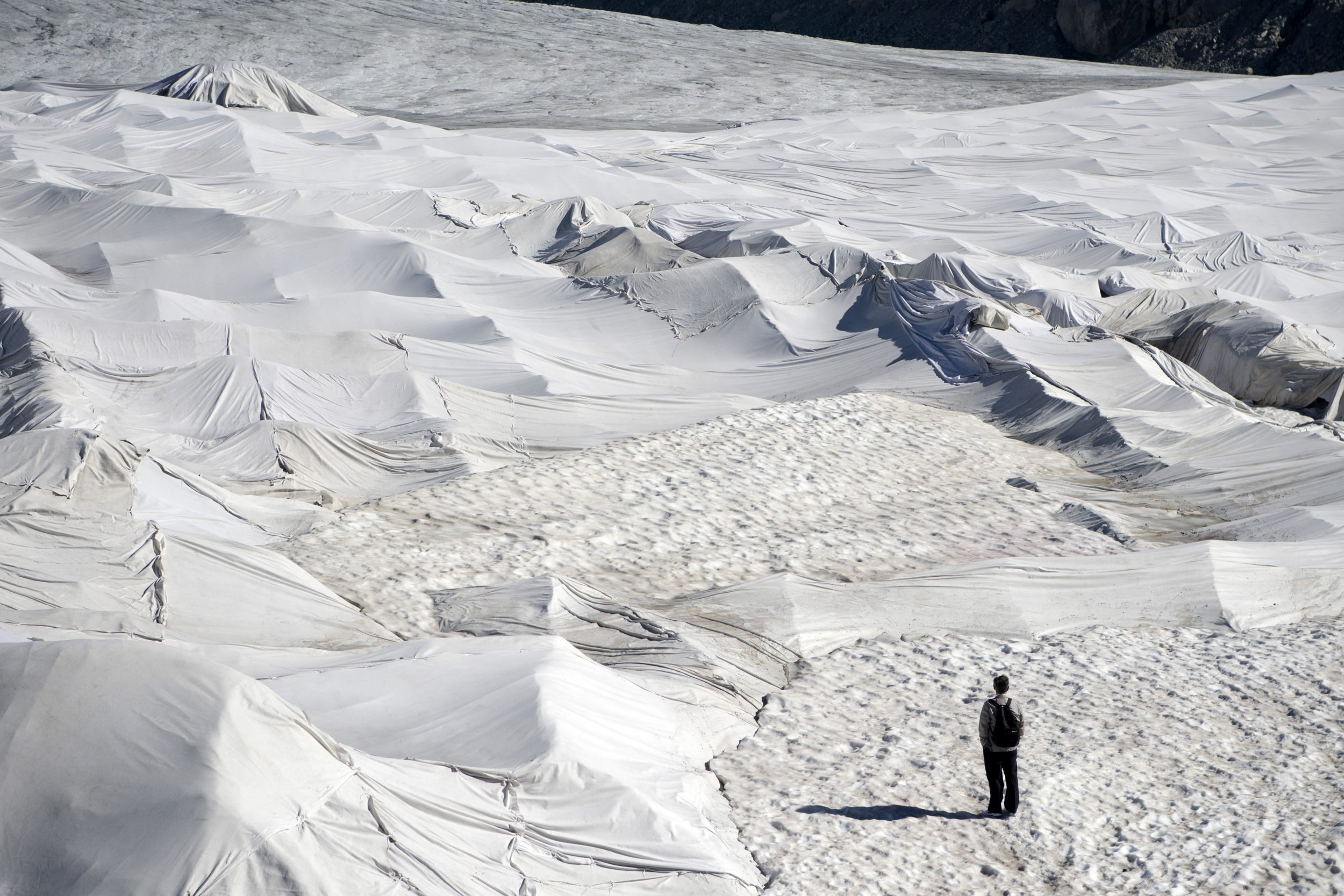 Glacier covered in blankets to stave off its inevitable melting