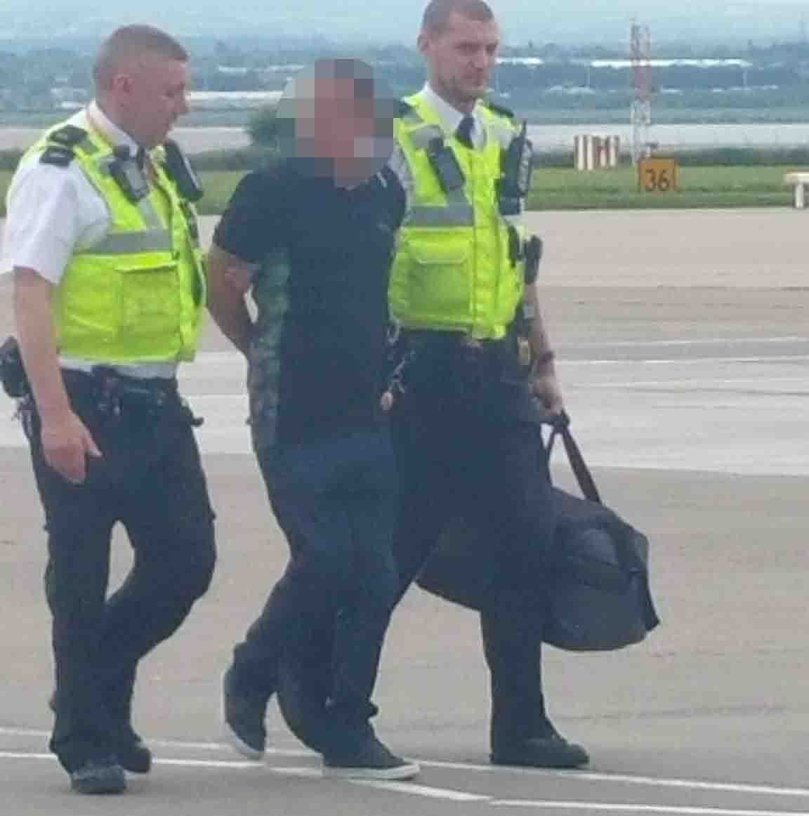 A man was arrested at John Lennon Airport after he was reported to be drunk and disorderly on a flight from Alicante.nMerseyside police were called to the airport at around 1pm, in response to reports that a male passenger was being disruptive on board.nA 53-year-old man from West Derby was arrested on suspicion of being drunk on an aircraft and has been taken in for questioning.nOne eye-witness who contacted the ECHO says the man allegedly ¿belched at another passenger and then fell onto a small child¿.nnA man has been arrested at John Lennon Airport after he was reported to be drunk and disordely on a flight from Alicante.