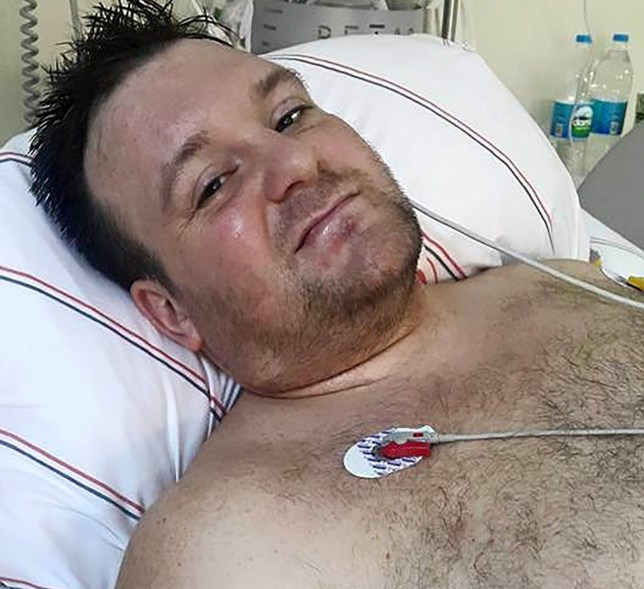 PIC FROM CATERS NEWS (Pictured: Kirk Shepherd in the hospital bed after falling off a balcony due to his fear of moths) - A dad was left fighting for his life after a horror plunge from a hotel balcony - because he was scared of MOTHS. Kirk Shepherd, 34, plummeted 45ft from the third floor of Pine Bay Hotel, in Kusadasi, Turkey - after he got spooked when he was attacked by a swarm of the winged insects. Kirk, from Lichfield, Staffs, has a phobia of moths - and when they started flocking around him he lost his footing and fell over the balcony. Wife Joy, 45, and daughter Tyllar, 12, rushed to the balcony to see what had happened - and were horrified to see him crumpled on the floor, covered in blood. Kirk was suffered a massive brain haemorrhage, and spent 24 hours on life support and four days in a medically induced coma, as well as three weeks in a Turkish hospital. SEE CATERS COPY
