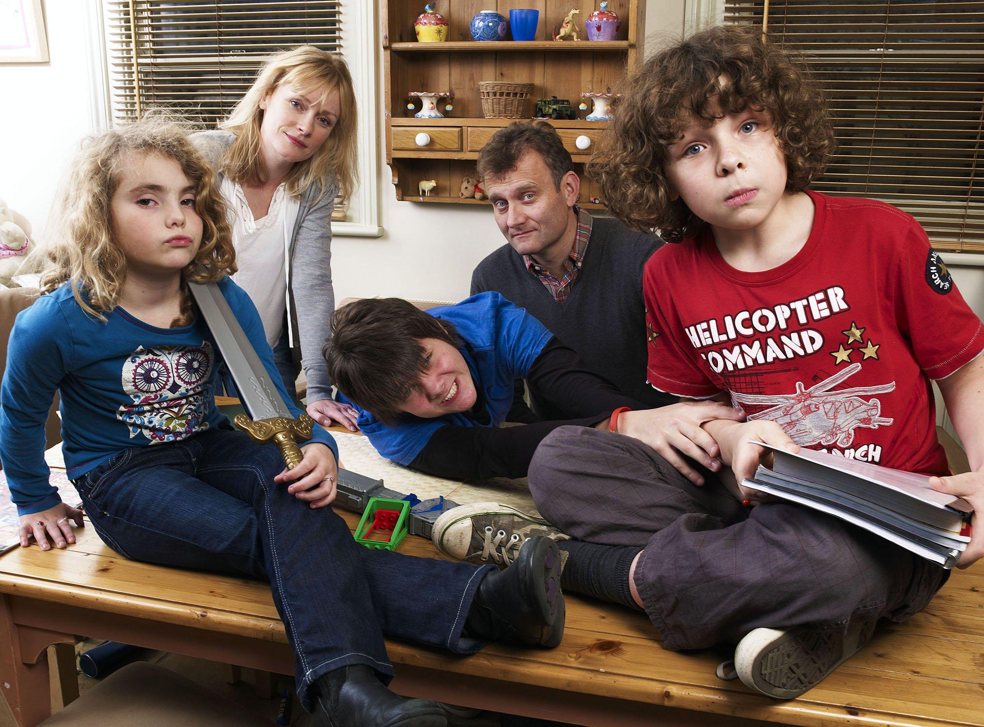 Television programme: Outnumbered Picture shows: (l/r) Karen (Ramona Marquez), Mum (Claire Skinner), Jake (Tyger Drew-Honey), Dad (Hugh Dennis) & Ben (Daniel Roche) TX: BBC One