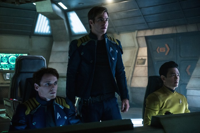 Left to right: Anton Yelchin plays Chekov, Chris Pine plays Kirk and John Cho plays Sulu in Star Trek Beyond from Paramount Pictures, Skydance, Bad Robot, Sneaky Shark and Perfect Storm Entertainment